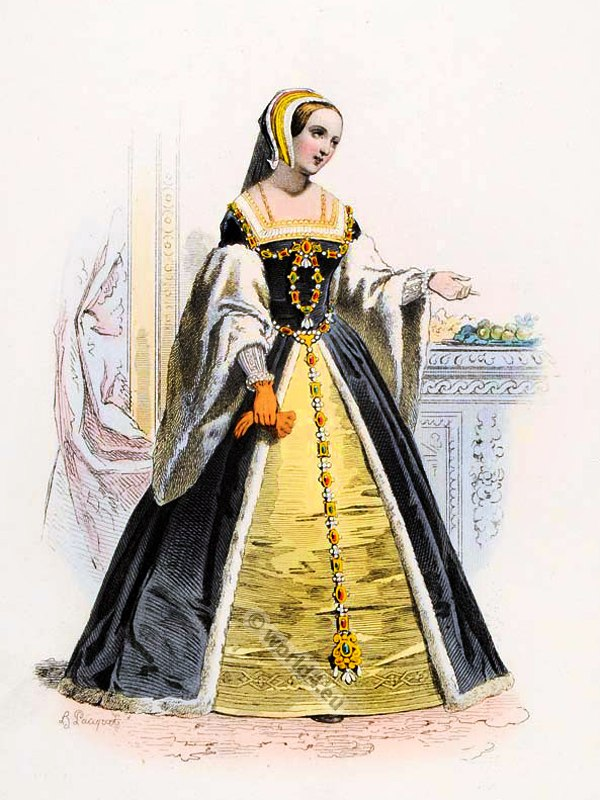 Claude of France, Queen consort of King Francis I. Ancien Régime fashion. French Renaissance clothing. France medieval costume