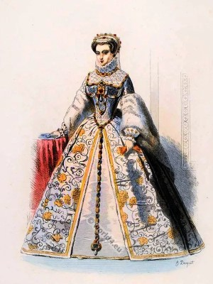 Elisabeth of Austria. Queen of France. Renaissance fashion. 16th century costumes.