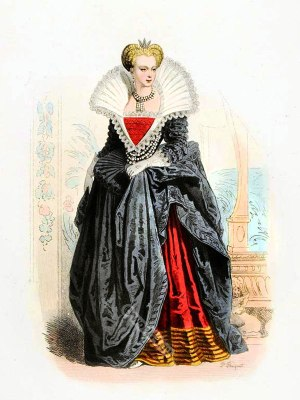 Marguerite de Valois. Queen of France. Farthingale. Spanish court dress. Renaissance fashion. 16th century costumes.