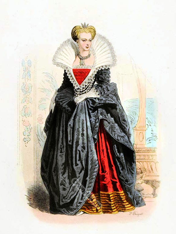 Marguerite de Valois, Margaret of France. Queen of France in tudor costume, spanish clothing court dress. Farthingale