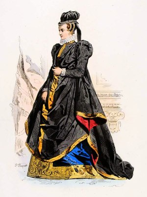 Lady of the French Court in Spanish fashion. Ancien Régime fashion. Renaissance nobility costume.