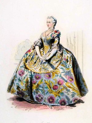18th century fashion. Farthingale,Hoop skirt,Le Pouf,Marquise, France Ancien Régime,