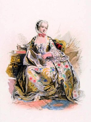 French Marquise, Madame de Pompadour in Rococo costume. France 18th century clothing. Louis XV Ancien Régime fashion. Court Dress in Versailles