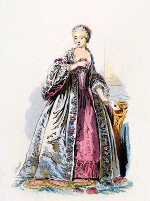 18th century fashion. Comtesse du Barry,Contouche,farthingale,France Ancien Régime, fashion,Rococo. Hoop skirt, Le Pouf.