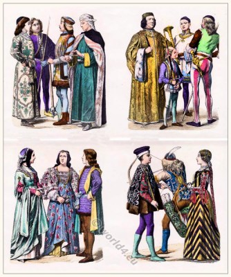 Pharmacist clothing. Italian Podestà, church warden and soldier. Lady and gentleman. Lord of Rimini and archer.