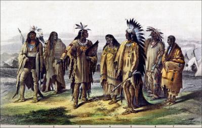 American natives clothing. Iriquois. Assineboin. Pawnee. Dakotah, Sioux warrior costume.