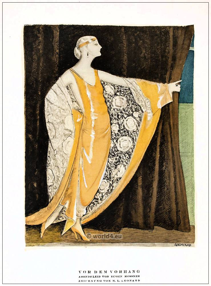 Before the curtain evening dress by eugene mossner art for Art deco era clothing
