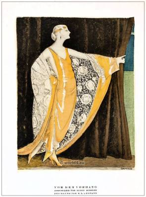 German fashion designer Eugene Mossner. Art deco costumes 1920s. Roaring twenties fashion. Gibson Girls clothing. STYL Fashion Magazine.