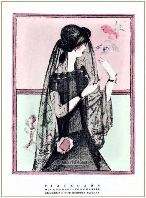 Queen of Spades. STYL Art Déco Fashion Magazine. German Art deco costumes 1920s. Roaring twenties fashion. Gibson Girls clothing.