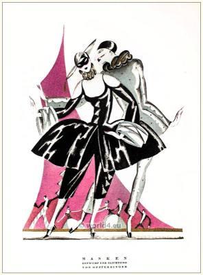 Masks. STYL Art Déco Fashion Magazine. German Art deco costumes 1920s. Roaring twenties fashion. Gibson Girls clothing.