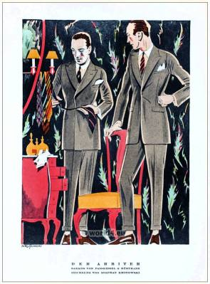 Men tailors Fasskessel & Müntmann. STYL Art Déco Fashion Magazine. German Art deco costumes 1920s. Roaring twenties fashion. Gibson Girls clothing.