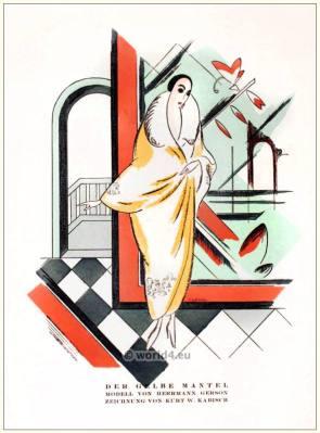 Yellow coat. STYL Art Déco Fashion Magazine. German Art deco costumes 1920s. Roaring twenties fashion. Gibson Girls clothing.