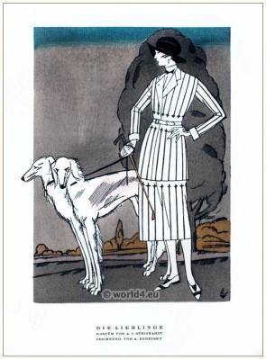 Costume by A. C. Steinhart. STYL Art Déco Fashion Magazine. German Art deco costumes 1920s. Roaring twenties fashion. Gibson Girls clothing.