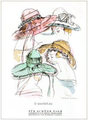 Summer hats by Regina Friedender. STYL, Art Déco Fashion Magazine. German Art deco costumes 1920s. Roaring twenties fashion. Gibson Girls clothing.