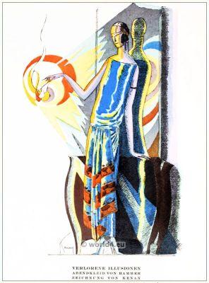 Evening dress by Hammer. STYL, Art Déco Fashion Magazine. German Art deco costumes 1920s. Roaring twenties fashion. Gibson Girls clothing.