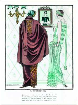 Cape coat and evening dress. STYL, Art Déco Fashion Magazine. German Art deco costumes 1920s. Roaring twenties fashion. Gibson Girls clothing.