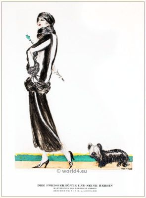 Coat dress. STYL, Art Déco Fashion Magazine. German Art deco costumes 1920s. Roaring twenties fashion. Gibson Girls clothing.