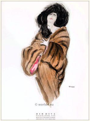 Art deco Fur coat by Regina Friedender. STYL, Art Déco Fashion Magazine. Roaring twenties fashion. Gibson Girls clothing.