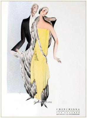 Art deco evening dress and chinchilla cape. STYL, Art Déco Fashion Magazine. Roaring twenties fashion. Gibson Girls clothing.