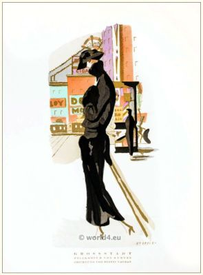 Art deco Fur costume by Kuehnen. STYL, Art Déco Fashion Magazine. Roaring twenties fashion. Gibson Girls clothing.