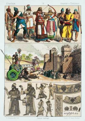 Ancient Babylonians and Assyrians costumes. Babylonian, Assyrian Clothing