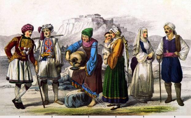 Hellenes, Pelasgi dresses. Greece national costumes. Greek traditional clothing. Shepherd of Arcadia. Woman from the Island of Crete.