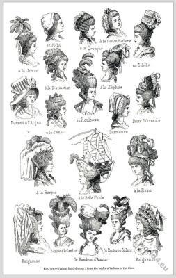 Rococo hairstyles and head-dresses. À la Junon, en Fichu, à la Greque, à la Douce Raillerie, En Echèlle. à la Dictinction, à la Zephire, Bonnet à l'Argus, à la Janot, en Rouleaux, Dormeuse, Petite Plissade, à la Harpie, à la Belle Poule, à la Reine, Baigneuse, Bonnet à la Candeur, le Bandeau d'Amour, le Parterre Galant, Baigneuse.