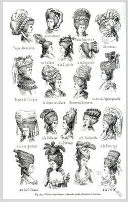 Rococo headdresses and hairstyles. Toque Alexandre, à la Modestie, Petite Palissade, Dormeuse, au Colisée, à la Silphide, à la Saporite, Toque à la Turque, le Chien couchant, Bonnet au Hérisson, en Ailes de Papillon panaché, à la Montgolfier, à la Noblesse, à la Persane, à la Recherche, à la Panurge, au Cerf-Volant, à la Cérés.