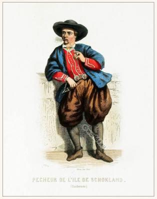 Holland Fisherman in Schokland Zuiderzèe clothing. Traditional Dutch national costume. Netherlands folk dress