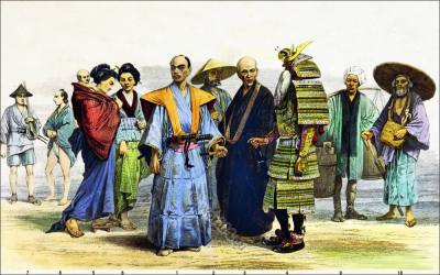 Japanese Soldier Samurai clothing. Traditional Japan national costumes