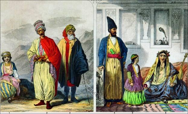 Persian national costumes. Kurds traditional clothing. Kurd Priest. Persian Lady and Girl of Teheran. Plain of Ararat