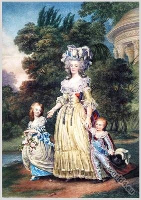 France Queen Marie Antoinette. Rococo hairstyle, costume and fashion at the court of Versailles. French 18th century clothing.