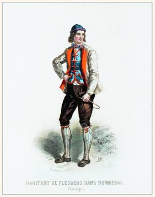 Inhabitant Nummedal, Flesberc clothing. Traditional Norway National costume.