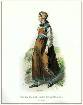 Woman from Hallingdal Buskerud clothing. Traditional Norway National costume.