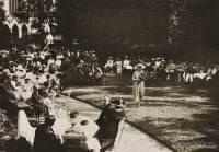 Palais Stourdza garden. Art deco fashion show. 1920s costumes