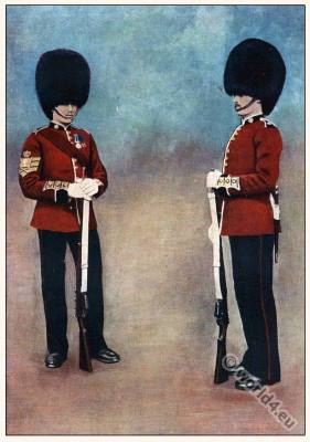 England Military Soldiers. English Boer war. Uniforms Color-Sergeant and Privat, The Scots Guards.