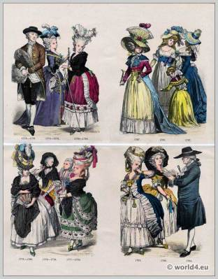 Rococo fashion. 18th century. French Ancien Régime costumes.