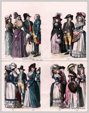 The Georgian Era. German fashion in the 18th century. Women's fashion. Costumes of Chur Saxon field postmaster. Princely Hessian postilion.