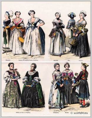 German Civil costumes. 1770 to 1790.