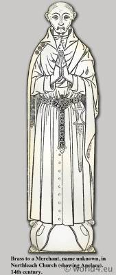 Anelace 14th century. Broad knife or dagger. Medieval Armour. Middle ages dresses.