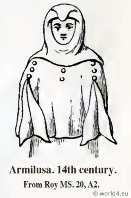 Armilusa. Tunica 14th century. Medieval clothing. Middle ages surcoat. Body garment. Cyclopedia of Costume. Dictionary of Dress