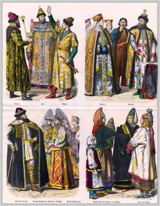 Russian Princely costumes. Tsar clothing. Boyar dress. 17th and 18th Century. Belorussian, Ryazan, Torschko woman garb