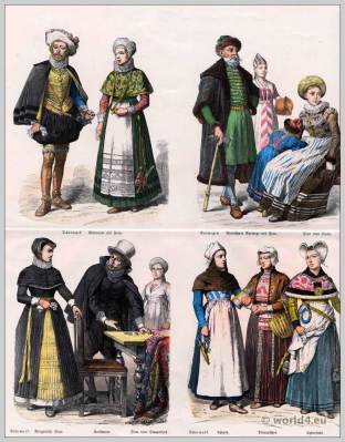 Norway and Denmark Costumes 17th Century. Danish merchant dress. Costumes from Upford, Ditmarschen and Enderstedt.