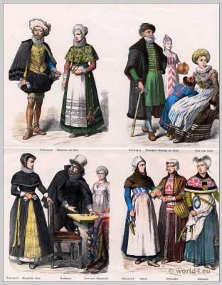 Norway,  Denmark Costumes .17th Century dresses. Baroque fashion.