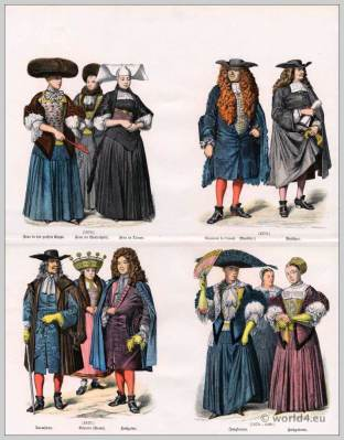 Strasbourg clothes. 17th Century costumes. Baroque era fashion.