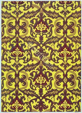 French baroque fabrics design. 17th century fabrics. Medieval textil design.