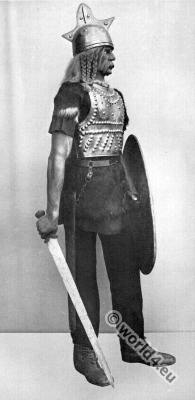 Roman Gallic wars. Gallic Warrior with armor, shield and sword.