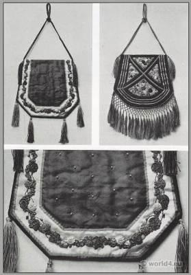 Art nouveau handbag design by Anna Somoff-Mikhailoff. Belle Époque fashion.