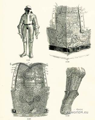 Armor of Louis XIV. 17th Century weapons. Defensive weapon. Baroque period warrior.