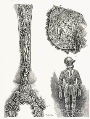 German blackened steel armor. Renaissance weapons. Medieval Knights helmet. Armorer Anton Pfeffenhauser
